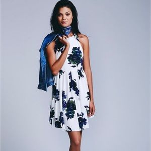 Free People Floral Sleeveless Mini Skater Dress